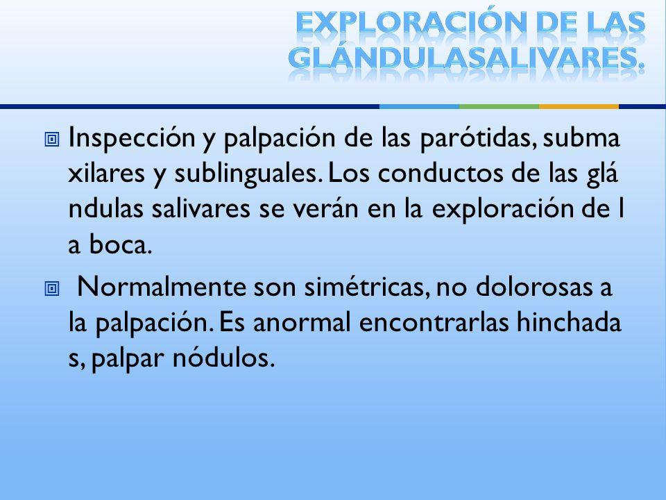 Inspección y palpación de las parótidas, subma xilares y sublinguales. Los conductos de las glá ndulas salivares se verán en la exploración de l a boc