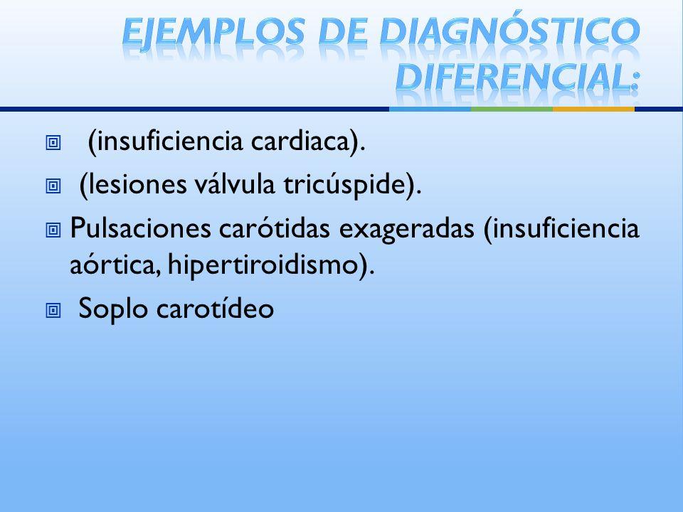 (insuficiencia cardiaca). (lesiones válvula tricúspide). Pulsaciones carótidas exageradas (insuficiencia aórtica, hipertiroidismo). Soplo carotídeo