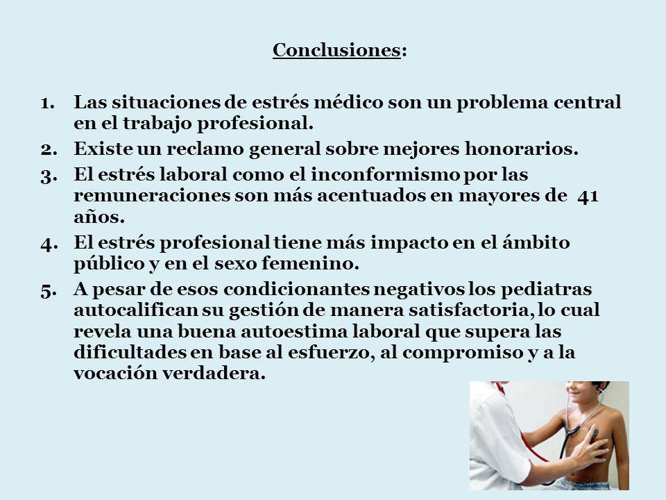 Conclusiones: 1.Las situaciones de estrés médico son un problema central en el trabajo profesional. 2.Existe un reclamo general sobre mejores honorari