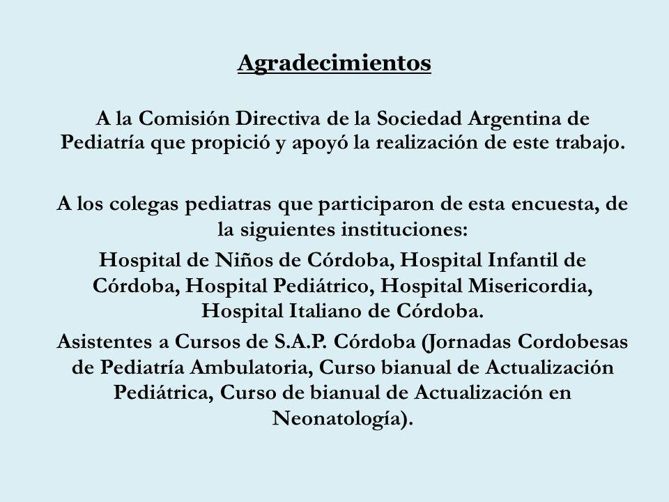 Agradecimientos A la Comisión Directiva de la Sociedad Argentina de Pediatría que propició y apoyó la realización de este trabajo. A los colegas pedia