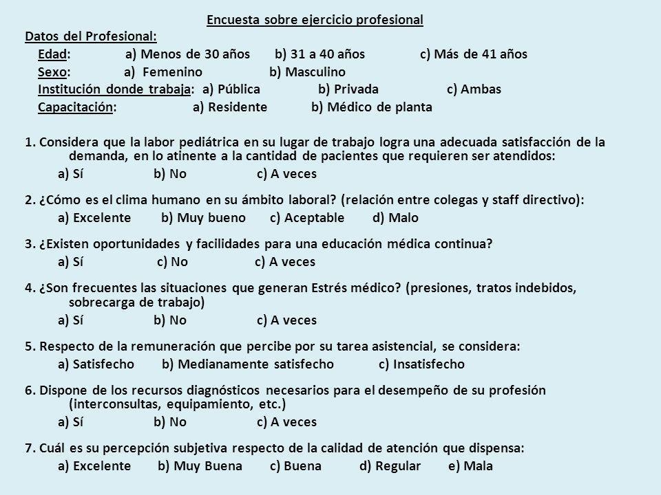 Encuesta sobre ejercicio profesional Datos del Profesional: Edad: a) Menos de 30 años b) 31 a 40 años c) Más de 41 años Sexo: a) Femenino b) Masculino