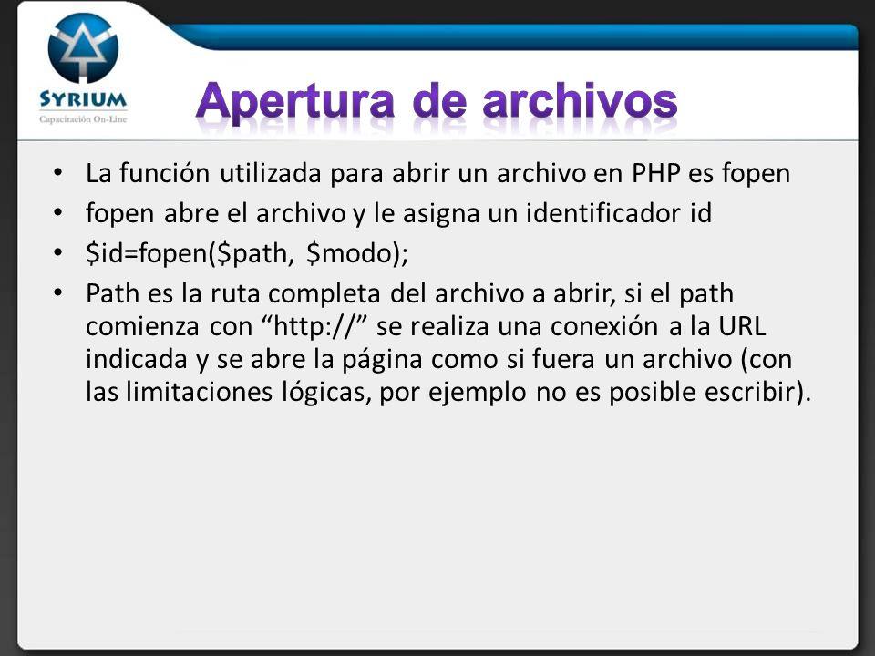 La función utilizada para abrir un archivo en PHP es fopen fopen abre el archivo y le asigna un identificador id $id=fopen($path, $modo); Path es la r