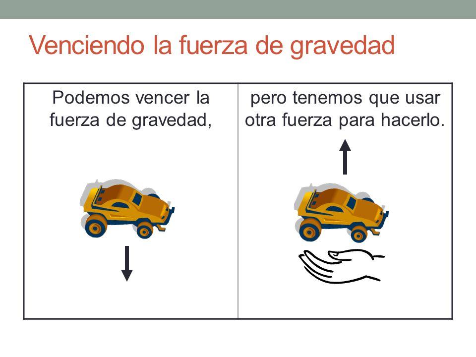 Venciendo la fuerza de gravedad Podemos vencer la fuerza de gravedad, pero tenemos que usar otra fuerza para hacerlo.