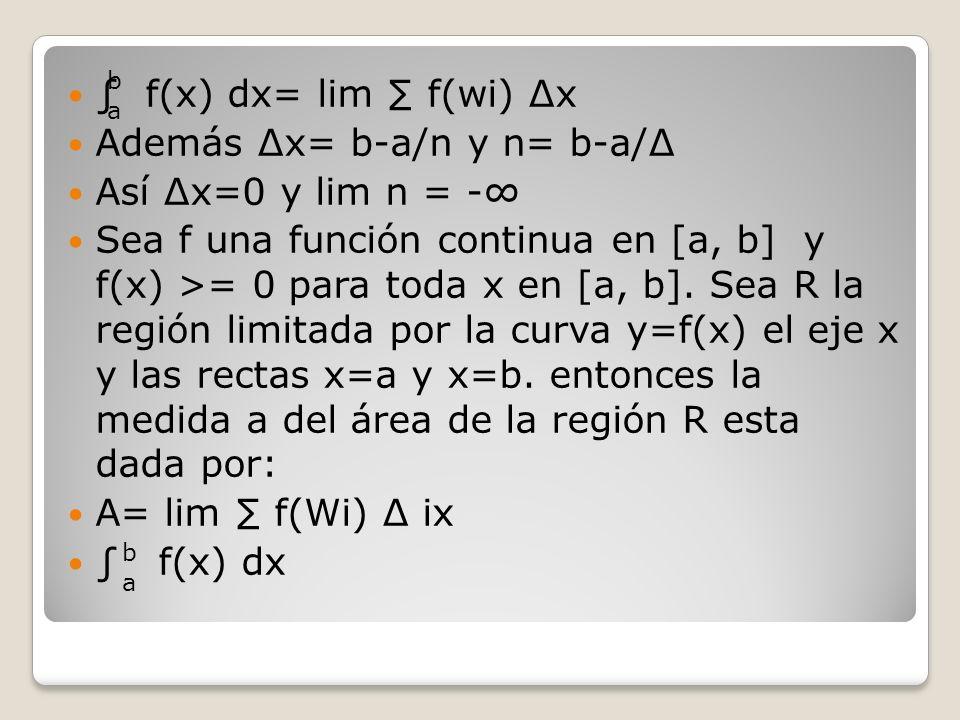 f(x) dx= lim f(wi) x Además x= b-a/n y n= b-a/ Así x=0 y lim n = - Sea f una función continua en [a, b] y f(x) >= 0 para toda x en [a, b]. Sea R la re