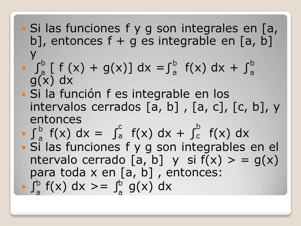 Si las funciones f y g son integrales en [a, b], entonces f + g es integrable en [a, b] y [ f (x) + g(x)] dx = f(x) dx + g(x) dx Si la función f es in