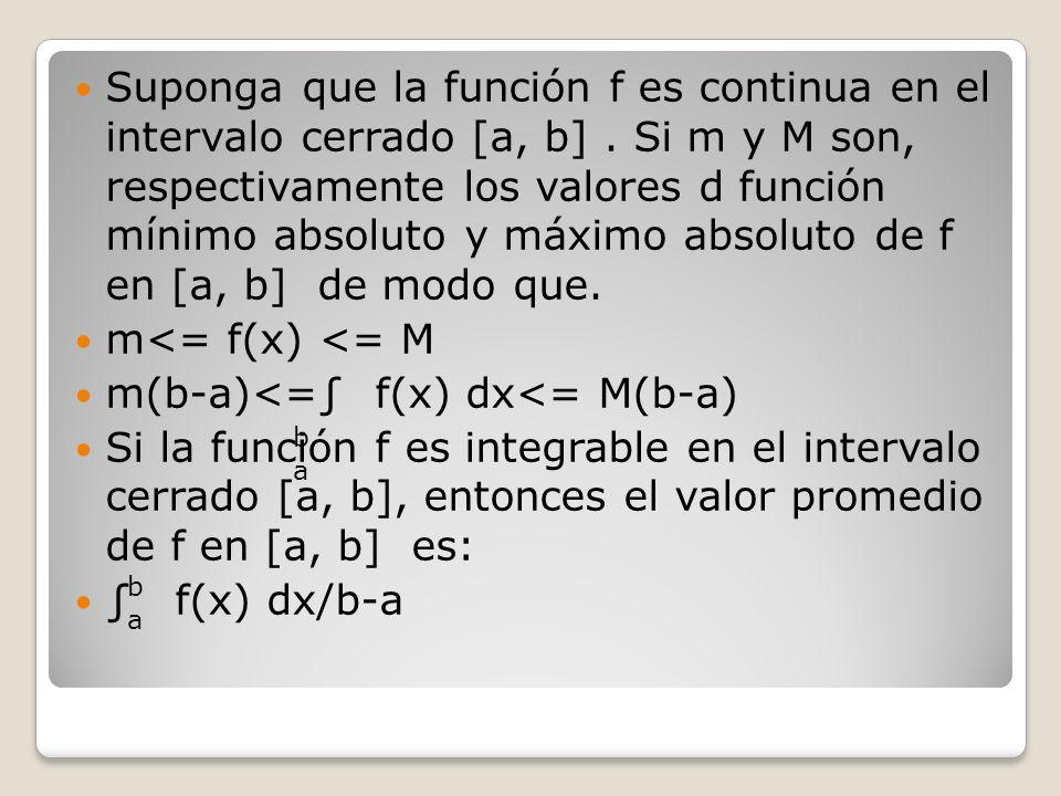 Suponga que la función f es continua en el intervalo cerrado [a, b]. Si m y M son, respectivamente los valores d función mínimo absoluto y máximo abso