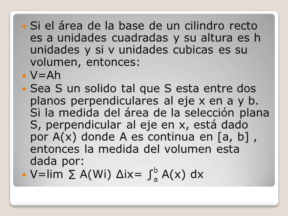 Si el área de la base de un cilindro recto es a unidades cuadradas y su altura es h unidades y si v unidades cubicas es su volumen, entonces: V=Ah Sea