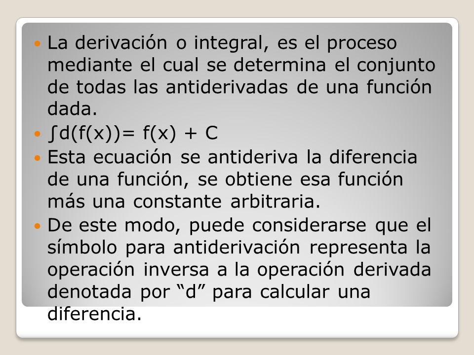 La derivación o integral, es el proceso mediante el cual se determina el conjunto de todas las antiderivadas de una función dada. d(f(x))= f(x) + C Es