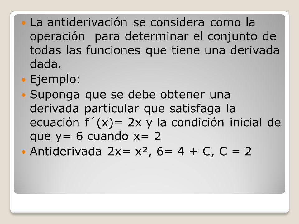 La antiderivación se considera como la operación para determinar el conjunto de todas las funciones que tiene una derivada dada. Ejemplo: Suponga que