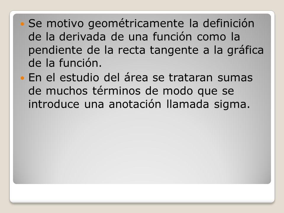 Se motivo geométricamente la definición de la derivada de una función como la pendiente de la recta tangente a la gráfica de la función. En el estudio