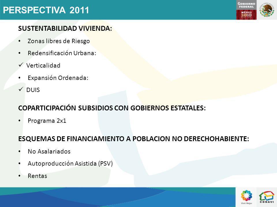 PERSPECTIVA 2011 SUSTENTABILIDAD VIVIENDA: Zonas libres de Riesgo Redensificación Urbana: Verticalidad Expansión Ordenada: DUIS COPARTICIPACIÓN SUBSID