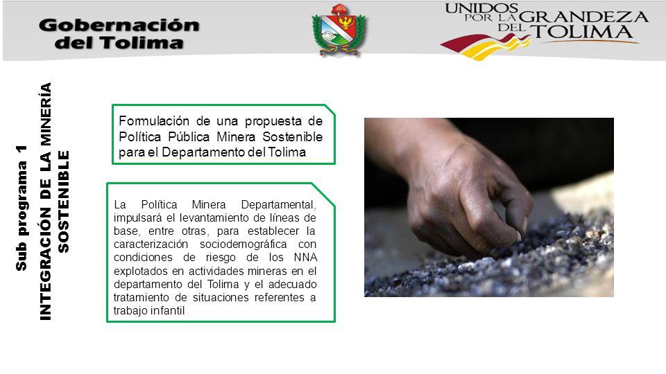 INTEGRACIÓN DE LA MINERÍA SOSTENIBLE Sub programa 1 Formulación de una propuesta de Política Pública Minera Sostenible para el Departamento del Tolima