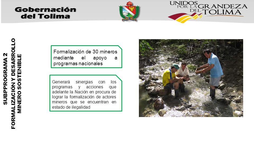 Formalización de 30 mineros mediante el apoyo a programas nacionales Generará sinergias con los programas y acciones que adelante la Nación en procura de lograr la formalización de actores mineros que se encuentran en estado de ilegalidad SUBPPROGRAMA 2 FORMALIZACIÓN Y DESARROLLO MINERO SOSTENIBLE