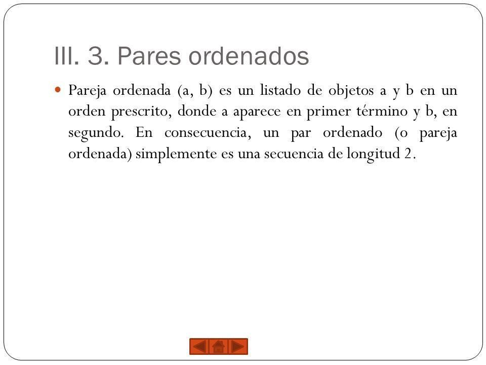 III. 3. Pares ordenados Pareja ordenada (a, b) es un listado de objetos a y b en un orden prescrito, donde a aparece en primer término y b, en segundo