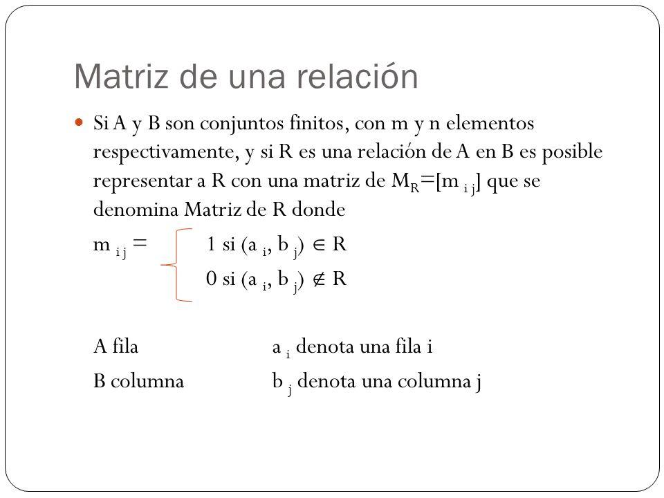 Matriz de una relación Si A y B son conjuntos finitos, con m y n elementos respectivamente, y si R es una relación de A en B es posible representar a