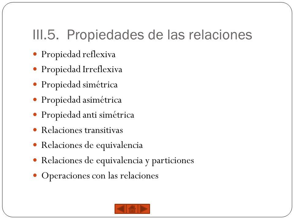 III.5. Propiedades de las relaciones Propiedad reflexiva Propiedad Irreflexiva Propiedad simétrica Propiedad asimétrica Propiedad anti simétrica Relac