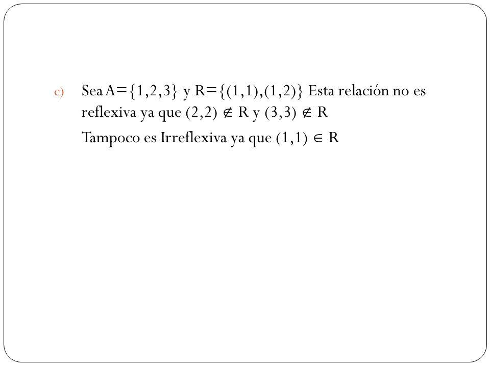 c) Sea A={1,2,3} y R={(1,1),(1,2)} Esta relación no es reflexiva ya que (2,2) R y (3,3) R Tampoco es Irreflexiva ya que (1,1) R