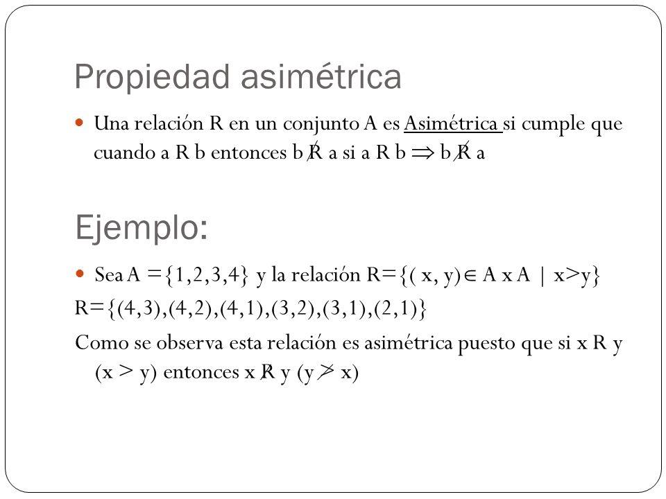 Propiedad asimétrica Una relación R en un conjunto A es Asimétrica si cumple que cuando a R b entonces b R a si a R b b R a Ejemplo: Sea A ={1,2,3,4}