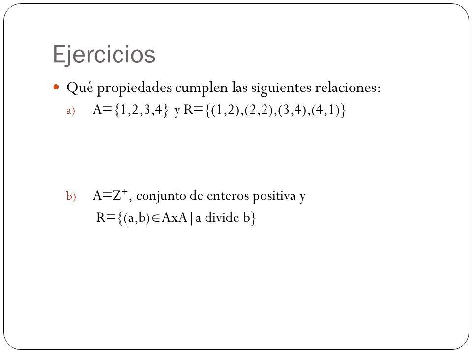 Ejercicios Qué propiedades cumplen las siguientes relaciones: a) A={1,2,3,4} y R={(1,2),(2,2),(3,4),(4,1)} b) A=Z +, conjunto de enteros positiva y R=