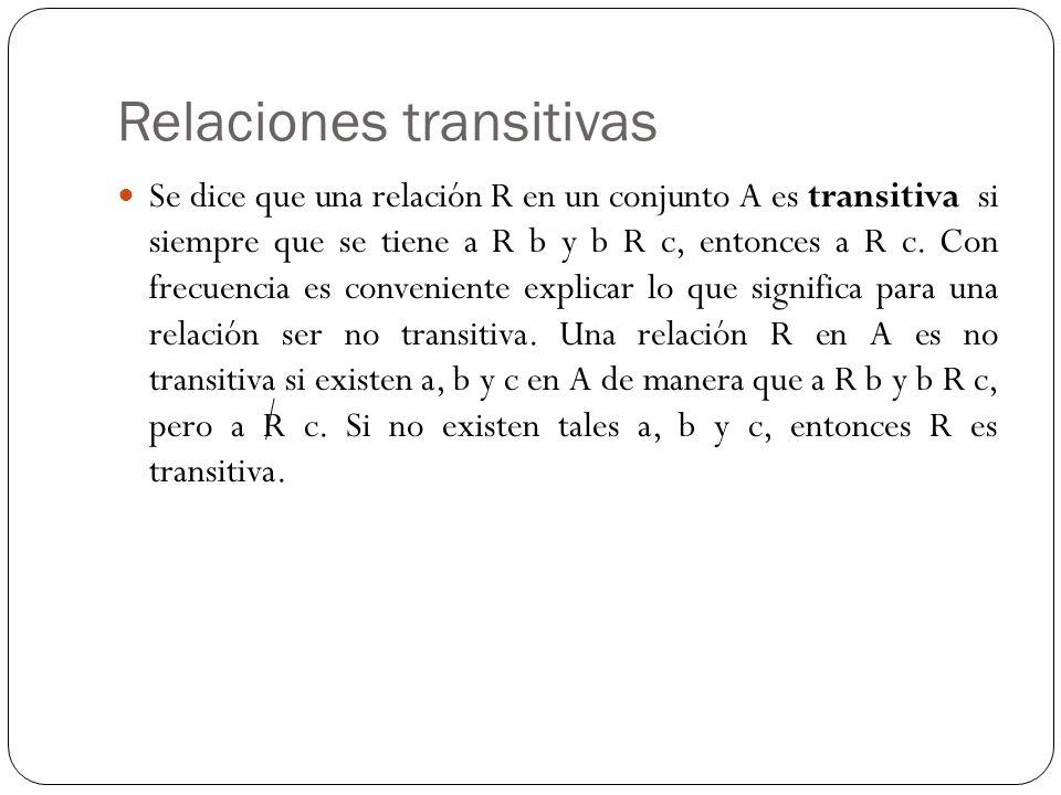 Relaciones transitivas Se dice que una relación R en un conjunto A es transitiva si siempre que se tiene a R b y b R c, entonces a R c. Con frecuencia
