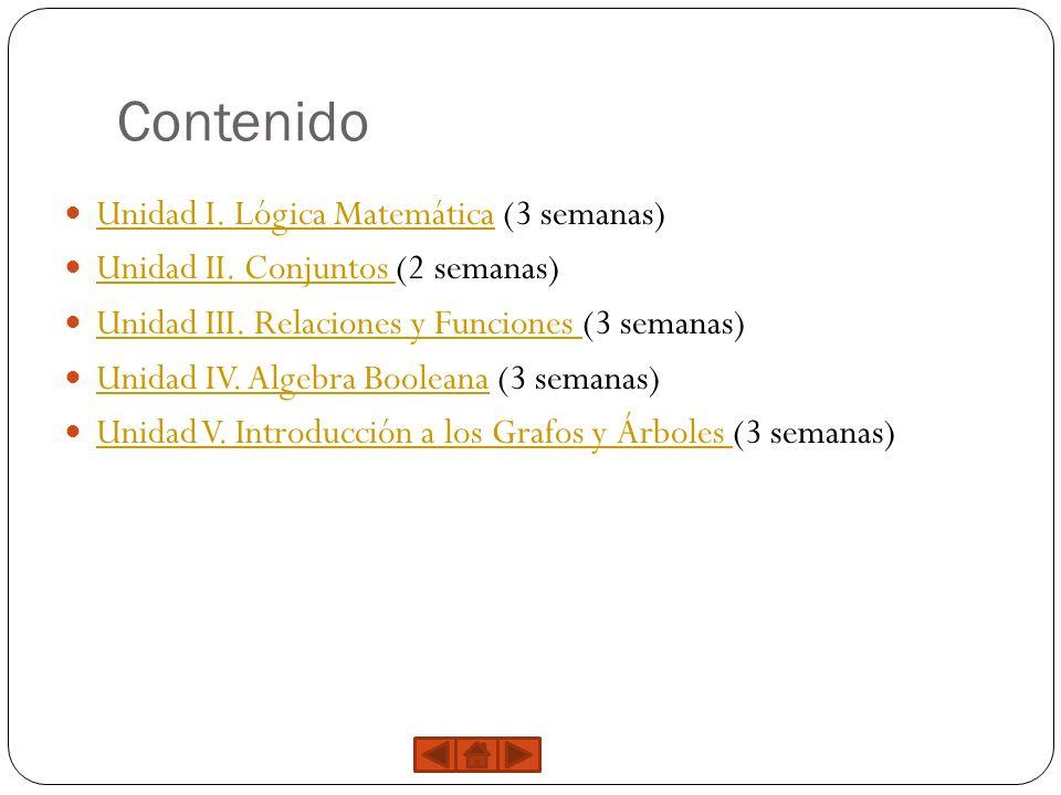 Contenido Unidad I. Lógica Matemática (3 semanas) Unidad I. Lógica Matemática Unidad II. Conjuntos (2 semanas) Unidad II. Conjuntos Unidad III. Relaci