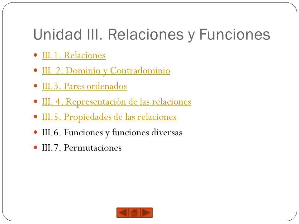 Unidad III. Relaciones y Funciones III.1. Relaciones III. 2. Dominio y Contradominio III.3. Pares ordenados III. 4. Representación de las relaciones I