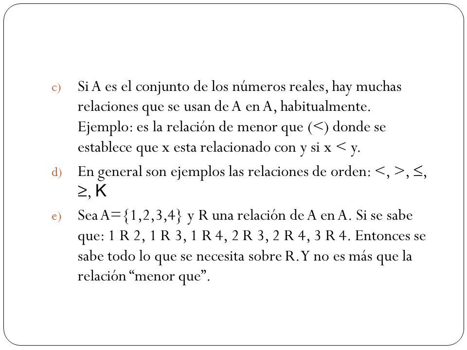 c) Si A es el conjunto de los números reales, hay muchas relaciones que se usan de A en A, habitualmente. Ejemplo: es la relación de menor que (<) don