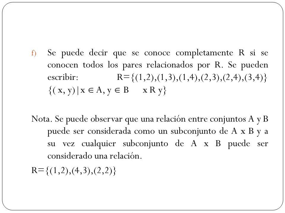 f) Se puede decir que se conoce completamente R si se conocen todos los pares relacionados por R. Se pueden escribir: R={(1,2),(1,3),(1,4),(2,3),(2,4)