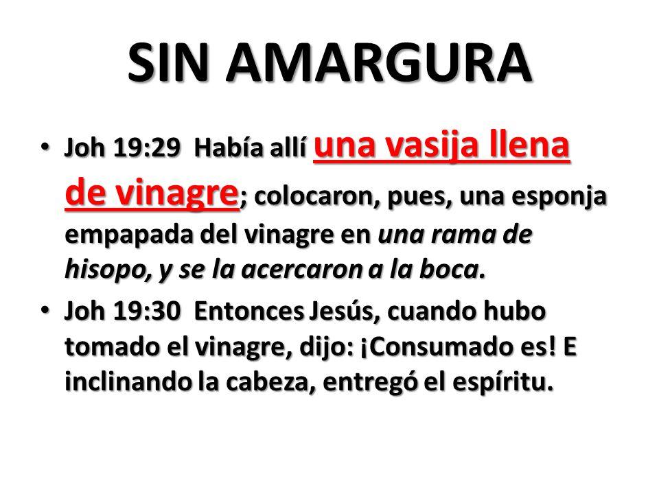 SIN AMARGURA Joh 19:29 Había allí una vasija llena de vinagre ; colocaron, pues, una esponja empapada del vinagre en una rama de hisopo, y se la acercaron a la boca.