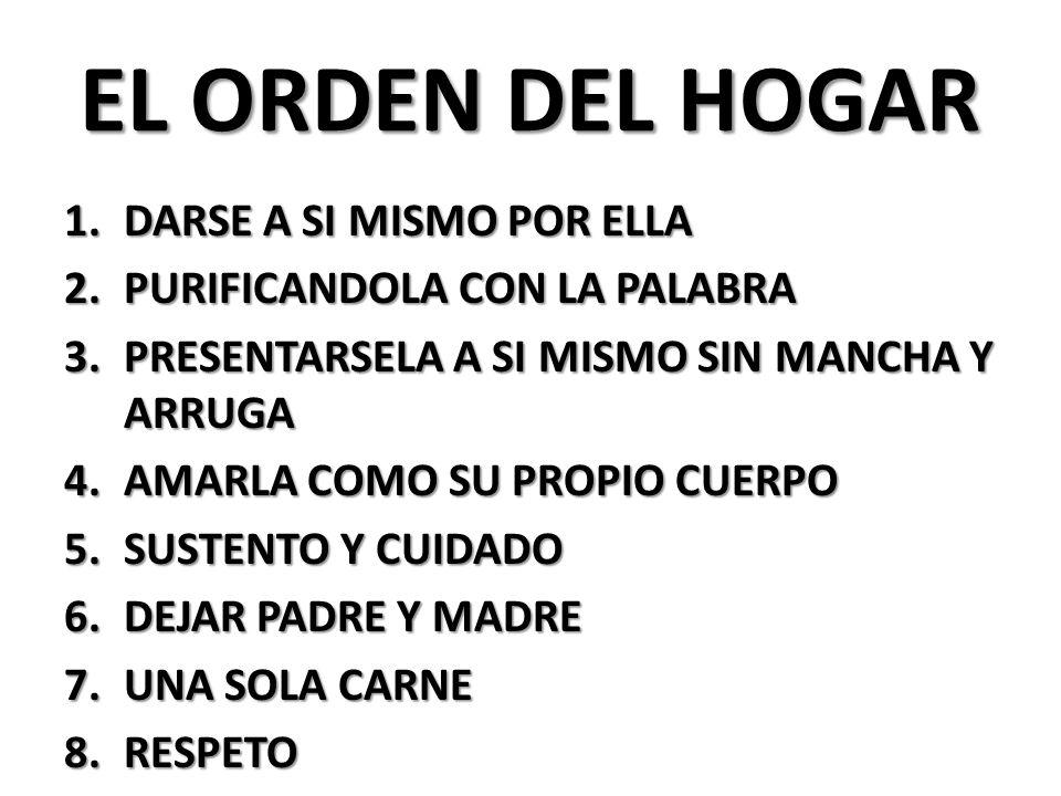 EL ORDEN DEL HOGAR 1.DARSE A SI MISMO POR ELLA 2.PURIFICANDOLA CON LA PALABRA 3.PRESENTARSELA A SI MISMO SIN MANCHA Y ARRUGA 4.AMARLA COMO SU PROPIO CUERPO 5.SUSTENTO Y CUIDADO 6.DEJAR PADRE Y MADRE 7.UNA SOLA CARNE 8.RESPETO