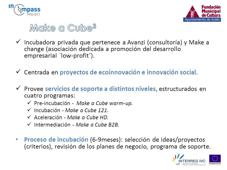 Incubadora privada que pertenece a Avanzi (consultoría) y Make a change (asociación dedicada a promoción del desarrollo empresarial `low-profit).