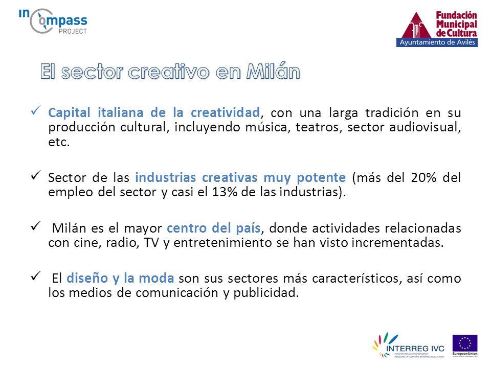 Capital italiana de la creatividad, con una larga tradición en su producción cultural, incluyendo música, teatros, sector audiovisual, etc.