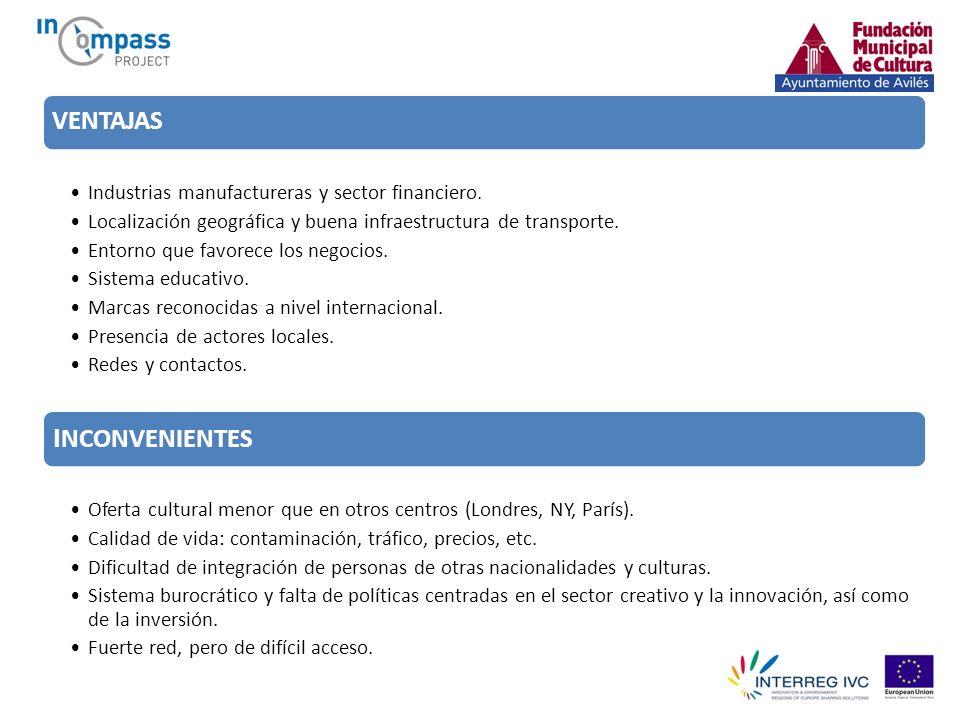 VENTAJAS Industrias manufactureras y sector financiero. Localización geográfica y buena infraestructura de transporte. Entorno que favorece los negoci