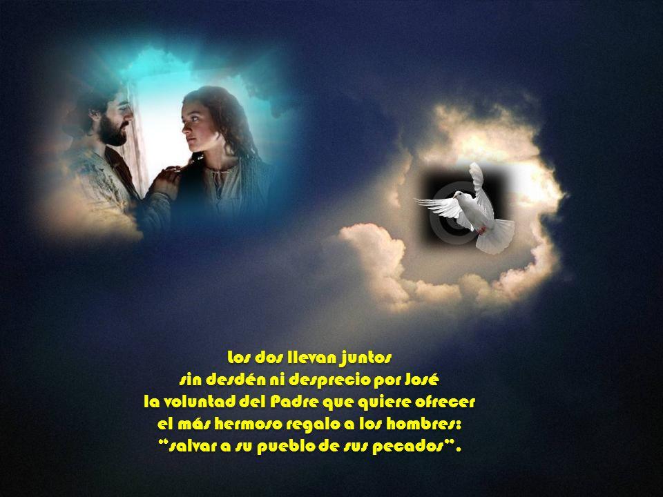 Los dos se ponen al servicio del proyecto de Dios. El porque es uno con el Padre y su Verbo, ella porque es sólo disponibilidad y adhesión a este plan
