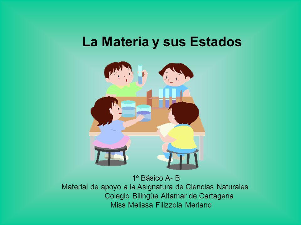 La Materia y sus Estados 1º Básico A- B Material de apoyo a la Asignatura de Ciencias Naturales Colegio Bilingüe Altamar de Cartagena Miss Melissa Filizzola Merlano