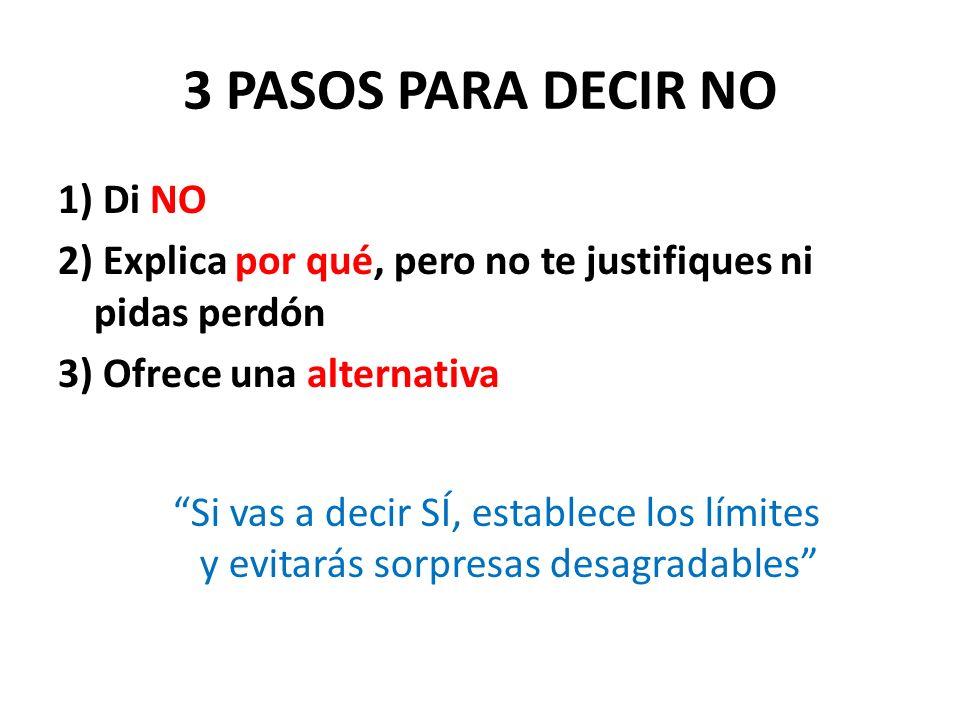 3 PASOS PARA DECIR NO 1) Di NO 2) Explica por qué, pero no te justifiques ni pidas perdón 3) Ofrece una alternativa Si vas a decir SÍ, establece los l