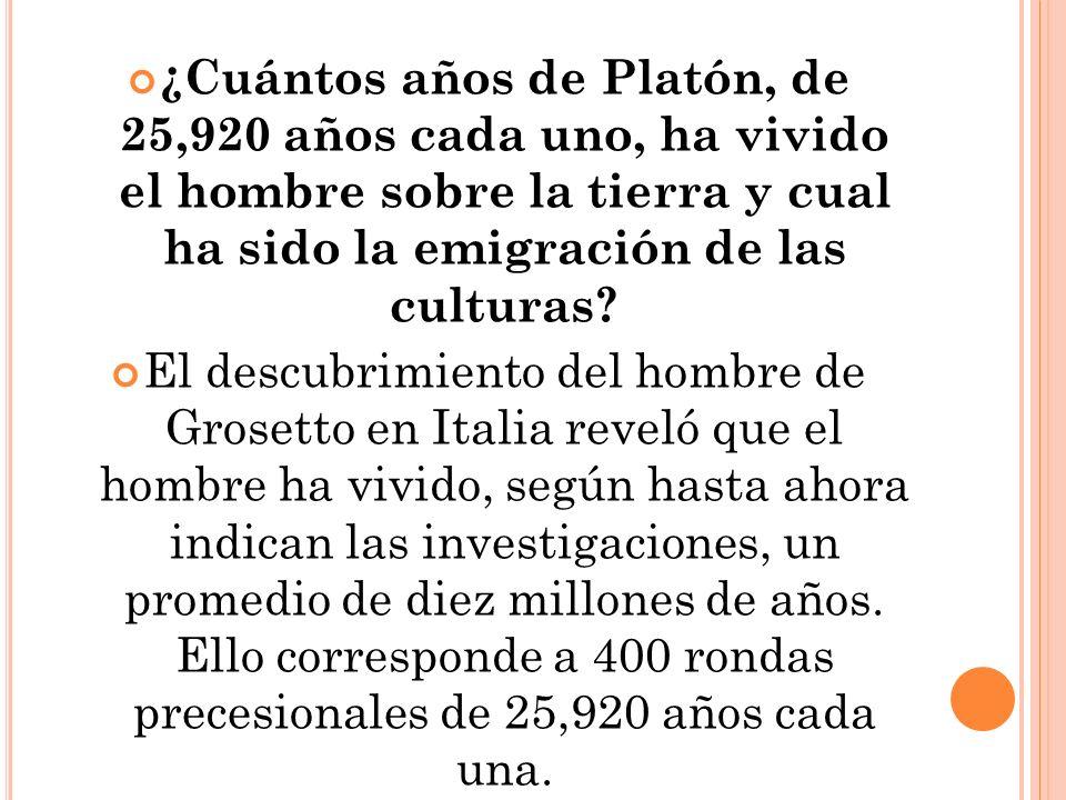 ¿Cuántos años de Platón, de 25,920 años cada uno, ha vivido el hombre sobre la tierra y cual ha sido la emigración de las culturas.