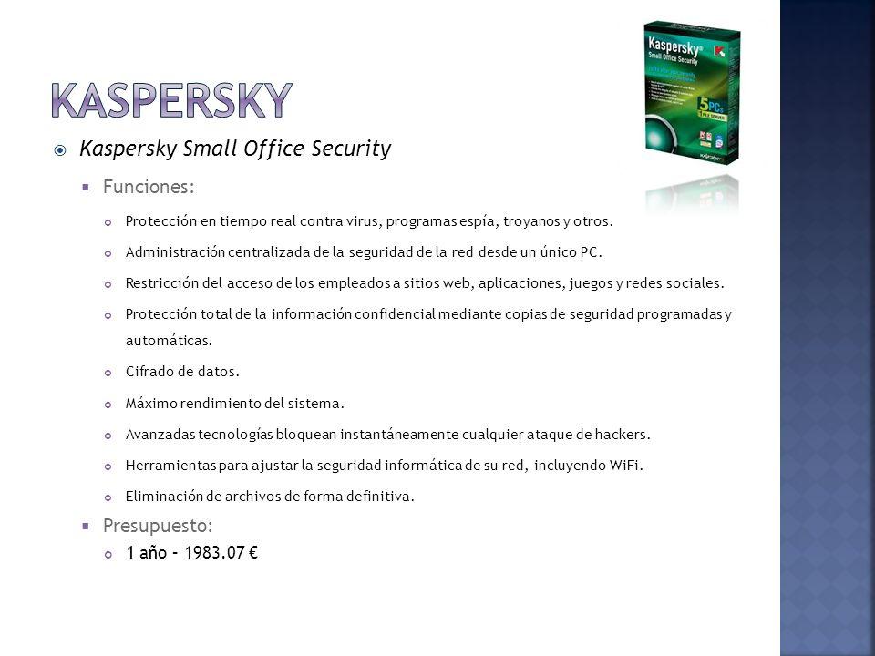 Kaspersky Small Office Security Funciones: Protección en tiempo real contra virus, programas espía, troyanos y otros. Administración centralizada de l