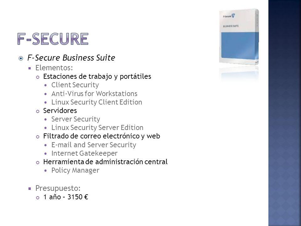F-Secure Business Suite Elementos: Estaciones de trabajo y portátiles Client Security Anti-Virus for Workstations Linux Security Client Edition Servid