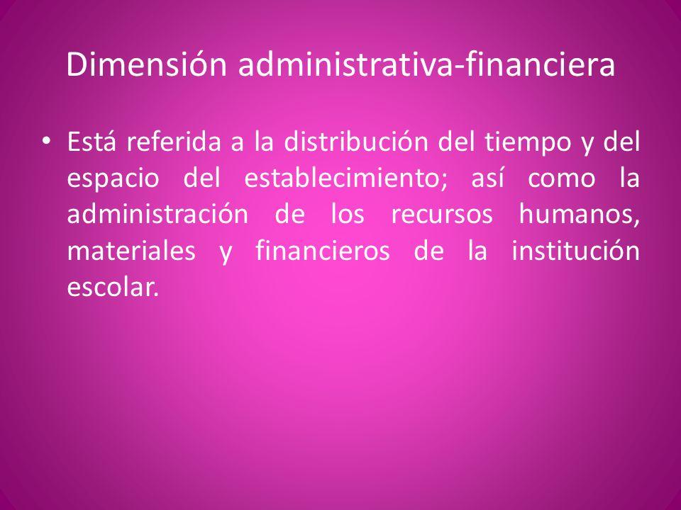Dimensión administrativa-financiera Está referida a la distribución del tiempo y del espacio del establecimiento; así como la administración de los re