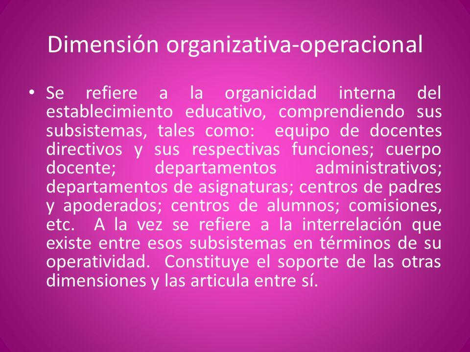 Dimensión organizativa-operacional Se refiere a la organicidad interna del establecimiento educativo, comprendiendo sus subsistemas, tales como: equip