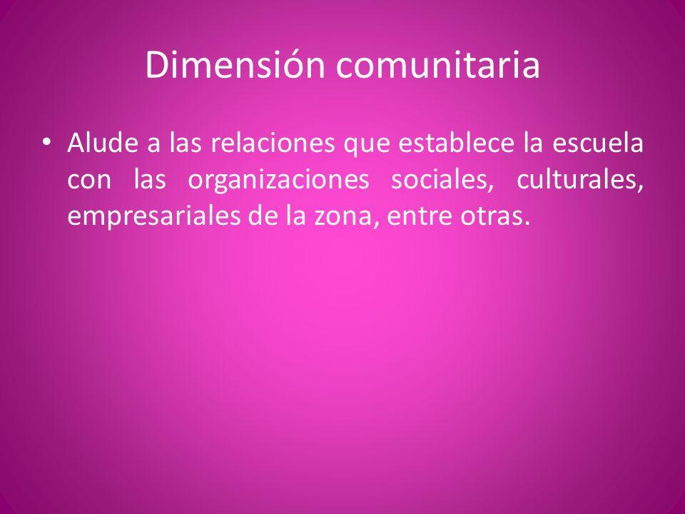 Dimensión comunitaria Alude a las relaciones que establece la escuela con las organizaciones sociales, culturales, empresariales de la zona, entre otr