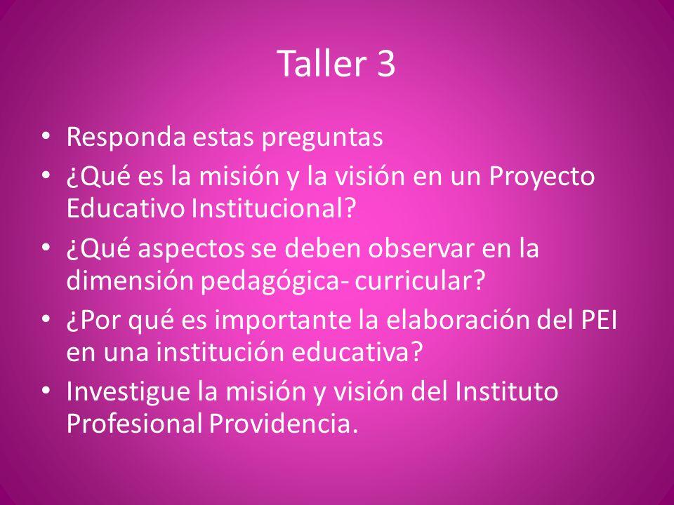 Taller 3 Responda estas preguntas ¿Qué es la misión y la visión en un Proyecto Educativo Institucional? ¿Qué aspectos se deben observar en la dimensió