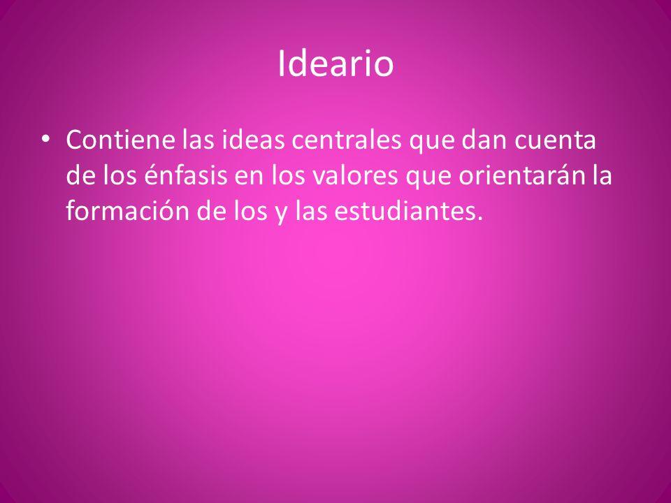 Ideario Contiene las ideas centrales que dan cuenta de los énfasis en los valores que orientarán la formación de los y las estudiantes.