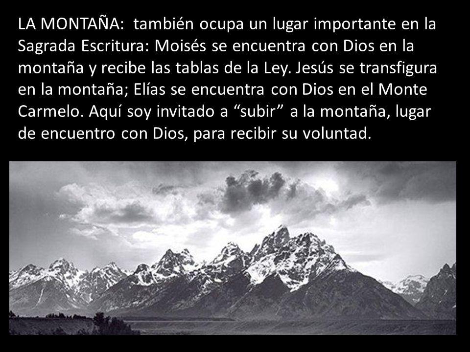 LA MONTAÑA: también ocupa un lugar importante en la Sagrada Escritura: Moisés se encuentra con Dios en la montaña y recibe las tablas de la Ley. Jesús