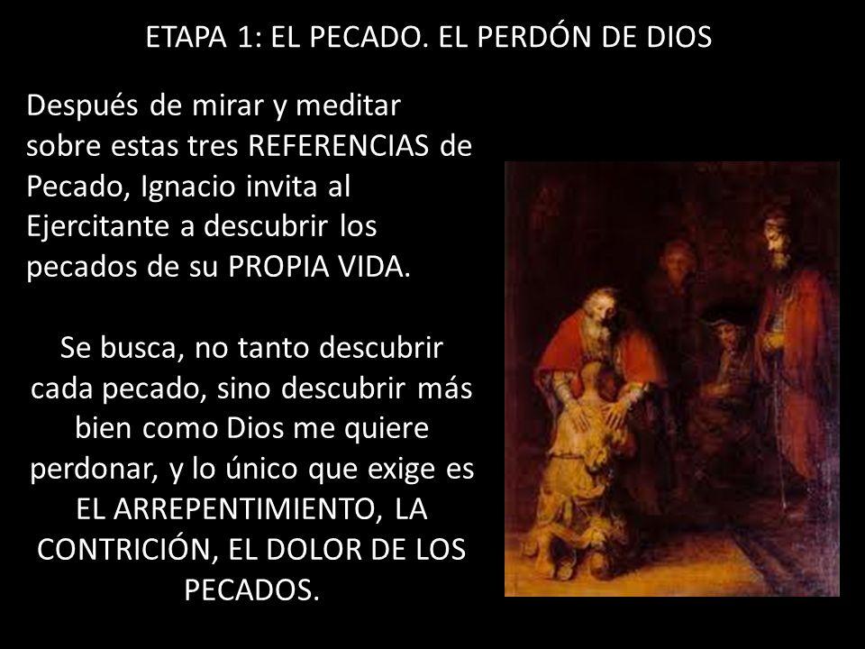 ETAPA 1: EL PECADO. EL PERDÓN DE DIOS Después de mirar y meditar sobre estas tres REFERENCIAS de Pecado, Ignacio invita al Ejercitante a descubrir los
