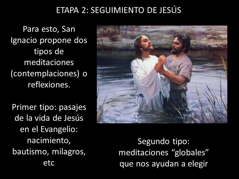 ETAPA 2: SEGUIMIENTO DE JESÚS Para esto, San Ignacio propone dos tipos de meditaciones (contemplaciones) o reflexiones. Primer tipo: pasajes de la vid