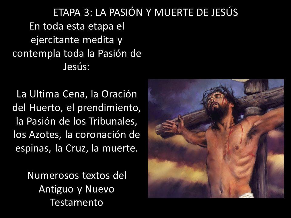 ETAPA 3: LA PASIÓN Y MUERTE DE JESÚS En toda esta etapa el ejercitante medita y contempla toda la Pasión de Jesús: La Ultima Cena, la Oración del Huer