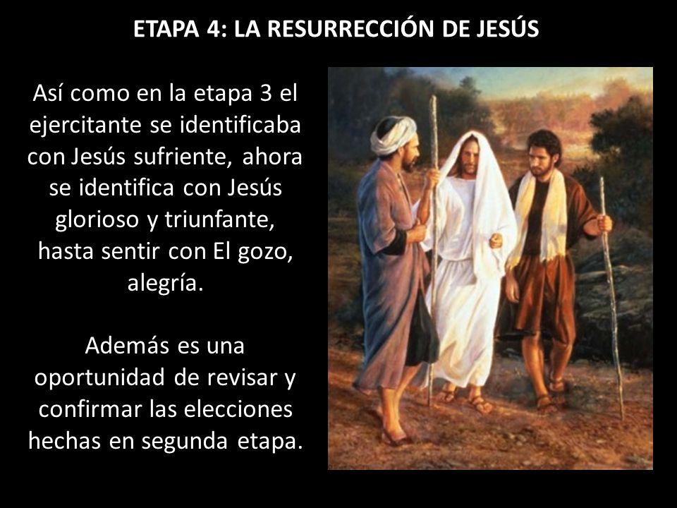 ETAPA 4: LA RESURRECCIÓN DE JESÚS Así como en la etapa 3 el ejercitante se identificaba con Jesús sufriente, ahora se identifica con Jesús glorioso y