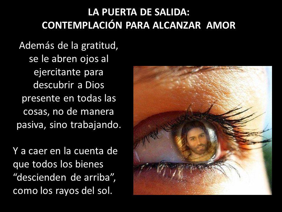 LA PUERTA DE SALIDA: CONTEMPLACIÓN PARA ALCANZAR AMOR Además de la gratitud, se le abren ojos al ejercitante para descubrir a Dios presente en todas l